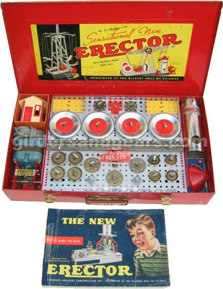 1953 No 7 Engineers Erector Set Girders Gears
